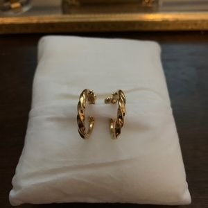 Vintage Napier twisted gold hoop clip on earrings